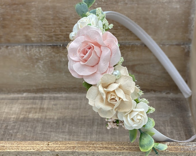 Blush Pink and Ivory Headband,  flower crown, Baby Girl headband, Flower Girl Headband, Wedding Headband, Photography Prop, Maternity Crown