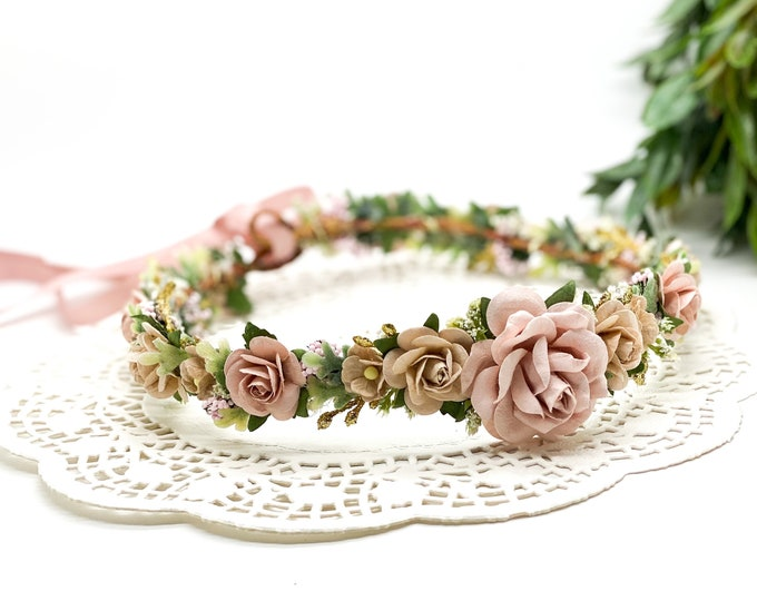 Blush pink and Gold Flower Crown , Flower Girl Crown, Flower Crown, Halo Flower Crown, Bridal Crown, Maternity Crown, Wedding Headpiece