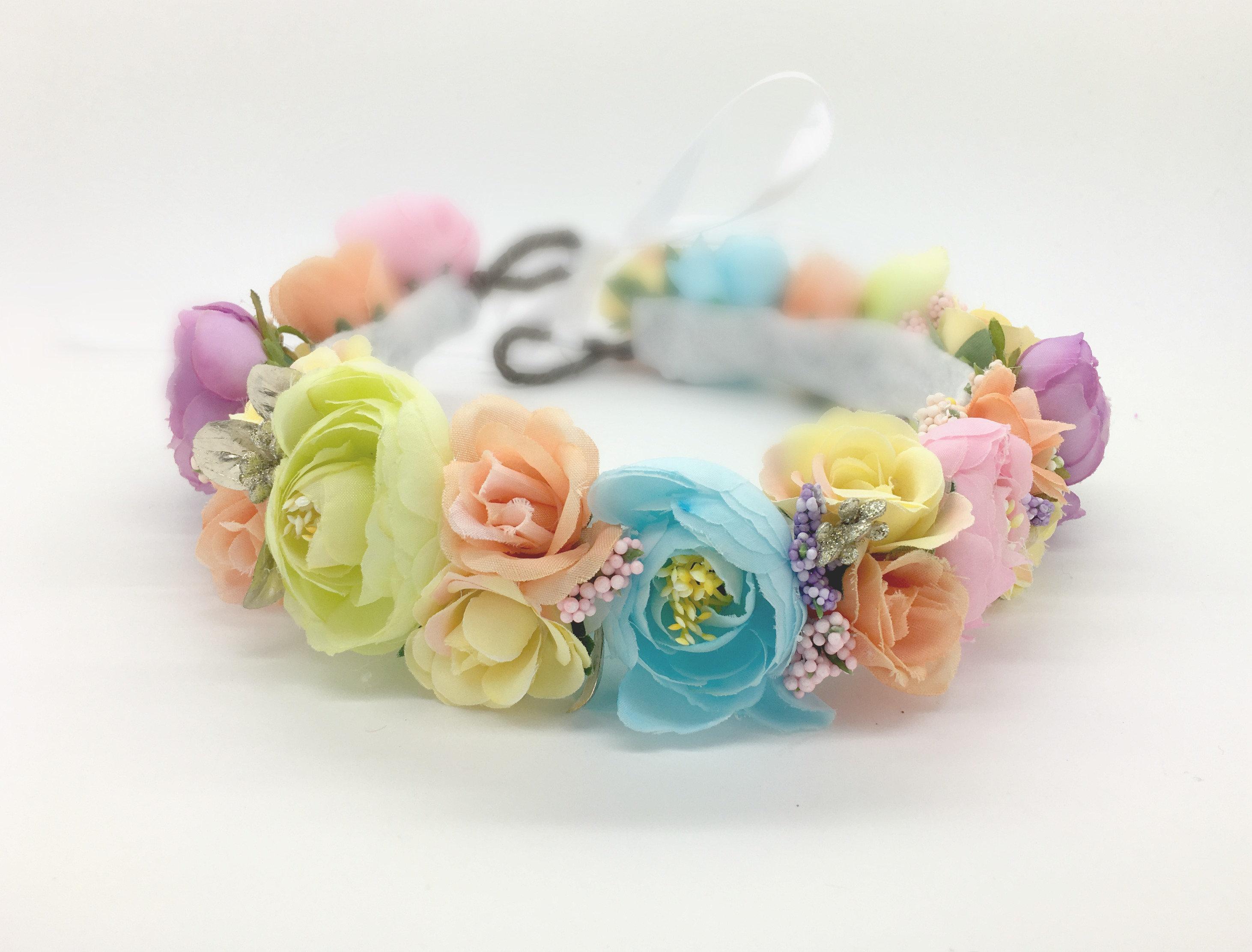 Pastel rainbow flower headband