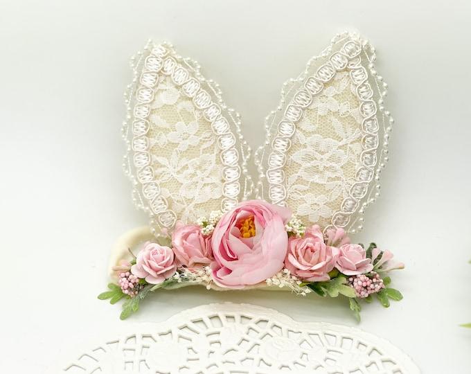Pink Bunny Ears Headband, Easter Headband, Baby Bunny Headband, Bunny Ears Headband,Newborn Headband, Baby Headband, Woodland Headband