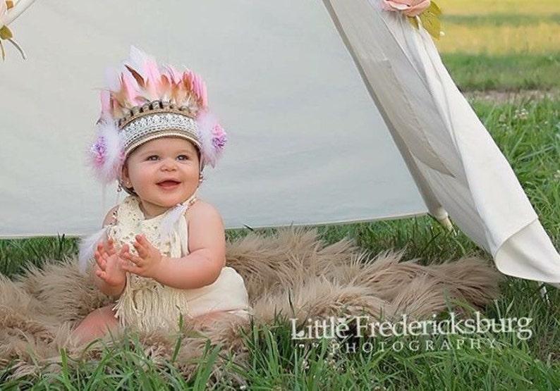 Kids Costume Pink Feather Headband baby feather crown, Baby Costume Feather Headpiece Children Feather Headband Baby toddler Headband