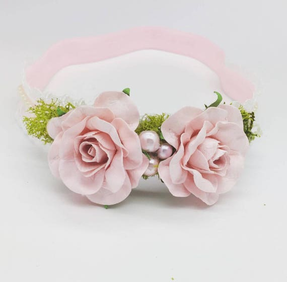Baby Girls Headband Petite vintage pink Baby Headband Newborn Headband Pink baby headband Nylon Headband Newborn Flower Crown