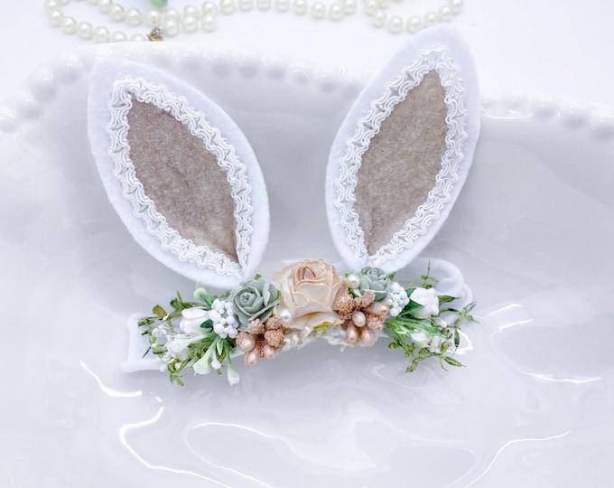 Neutral Bunny Ears Headband, Easter Headband, Baby Bunny Headband, Bunny Ears Headband,Newborn Headband, Baby Headband, Woodland Headband