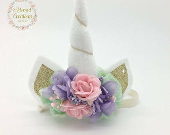 Unicorn headband, Unicorn Birthday headband, Unicorn horn, Headband, Girls unicorn birthday, Newborn unicorn headband, Unicorn photo prop