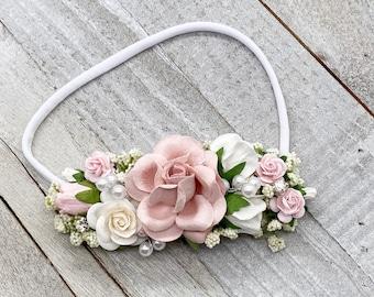 Blush and White  newborn Headband,  flower crown, Pearl flower girl headpiece, Flower Girl Headband, Wedding Headband,Hair Clip