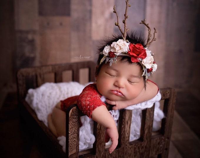 Reindeer Headband, Deer Headband, Fawn headband, Deer Antler Flower Crown, Newborn Flower Crown, Flower Crown, Red and Cream, Photo Prop