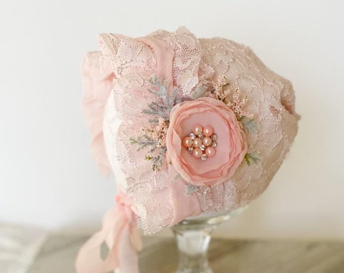 Blush Pink Newborn Bonnet, Newborn Prop, Newborn Hat, Newborn Lace bonnet, Newborn Photo prop, Newborn Photography