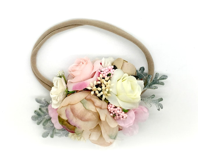 Pink and Beige Flower Headband - Baby Headband - Nylon Headband - Flower girl headband - Birthday Girl Headband