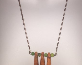 Boho Coral & Jade Peas and Carrots Copper Chain Necklace LAST ONE