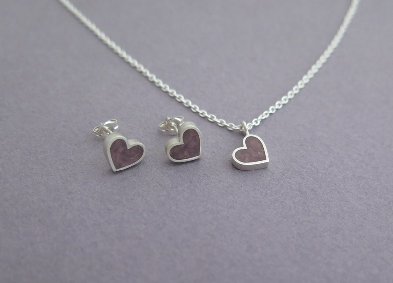 Minimalist Necklace Silver Necklace for Women Heart Necklace Purple Heart Necklace Heart Jewelry Heart Pendant Necklace Love Necklace