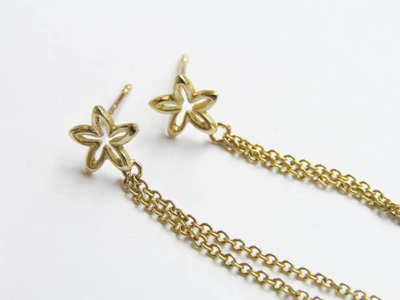 Long Earrings 14k Dainty Gold Earrings -Solid Gold Earring 14k Gold Chain Earrings 14k Gold Flower Earrings 14k Gold Dangle Earrings