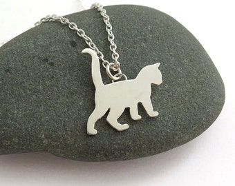 Cat Necklace - Cat Pendant Necklace - Silver Cat Necklace - Kitten Necklace – Cat Lover Gift - Cat Jewelry - Animal Lover Gift