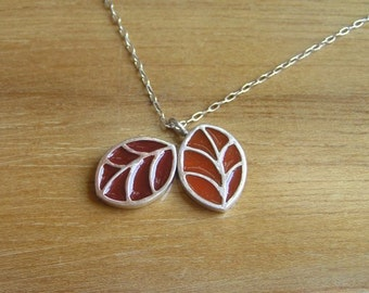 Silver Necklace - Red Leaves Pendant - Sterling Silver and Resin