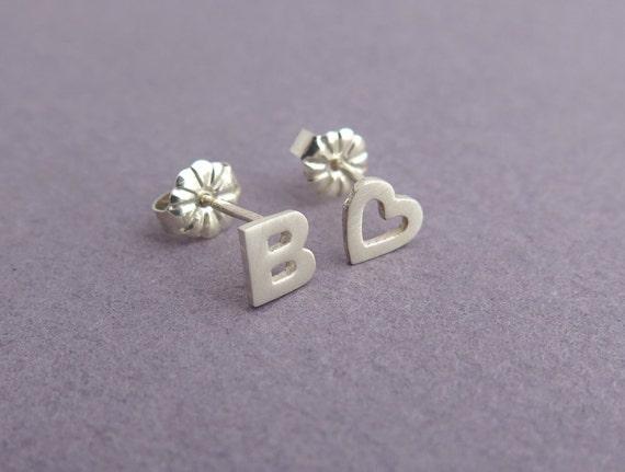 14ec6d979 Letter & Heart Earrings Personalized Gift Initial Silver | Etsy