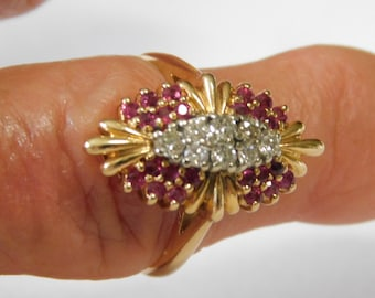 Diamond and Ruby Navette Ring .96Ctw Yellow Gold 14K 6 grams Size 8 1940s