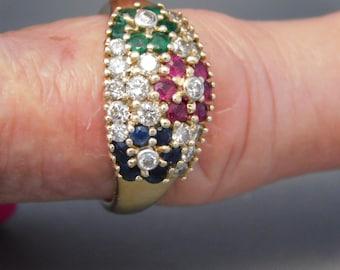 Diamond Ruby, Sapphire, & Emerald flower ring 1.32 CTW YG 14K 5.2 grams Size 8.5