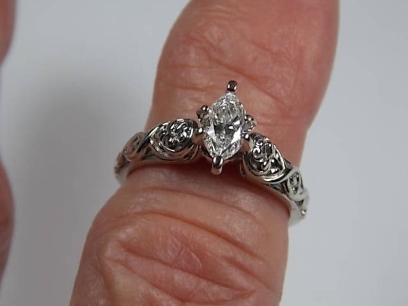 be2085f1c3ea9 Diamond Solitaire Ring .65Carats Flower and Vine Design White Gold 14K  4.2gm Size 5.5 Shane Company Jewelers