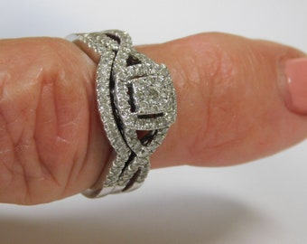 Diamond Halo  Bridal Set .50 Ctw White gold 10K 4.4 grams Size 6.25