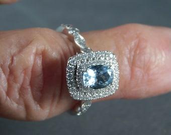 Aquamarine and Diamond Engagement Ring 1.37 Ctw White gold 14k 4.4gm Size 5.75 Neil Lane