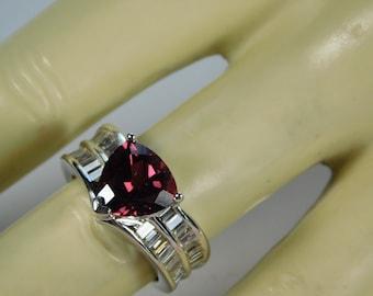 Rhodolite Garnet Diamond Ring 3 Carats total weight White gold 14K 8.6 Grams Size 5 Appraisal 3200