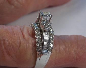 Diamond 3-Stone Bridal Ring 1.30 Ctw White Gold 14K 5.1 grams Size 7.75 Appraisal 3500