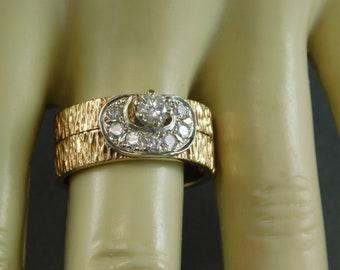 Bridal Set 8.7mm Wide .60 Ctw YG/WG 14K 11 grams Sizable 8 Appraisal 2500 Brushed nugget finish