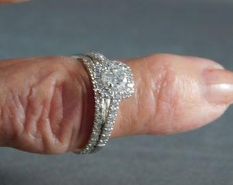 Halo Diamond Bridal Set One CTW White Gold 14K 5gm Size 7
