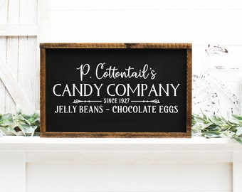 Easter Painted Wood Sign, P Cottontails Candy Company Wood Sign, Easter Decor 22724
