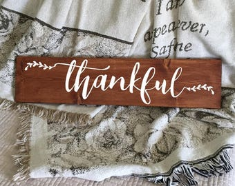 Thankful Sign | Wood Sign | Rustic Sign | Hand Painted Sign | Farmhouse Decor | Rustic Home Decor | Christian Sign | Thankful Script 22603