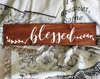Blessed Sign | Wood Sign | Farmhouse Decor | Rustic Sign | Hand Painted Sign | Christian Decor | Rustic Home Decor | Blessed Script 22604