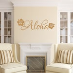 Aloha Vinyl Wall Decal - Beach Decal - Flower Wall Decal - Hawaiian Beach Decor 22551