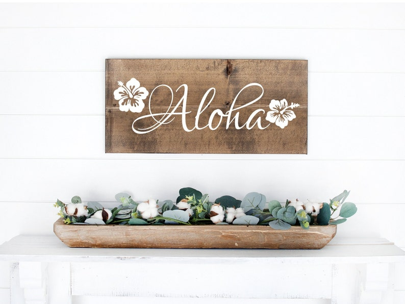 Aloha Sign  Wood Sign  Welcome Sign  Beach Sign  Rustic image 0