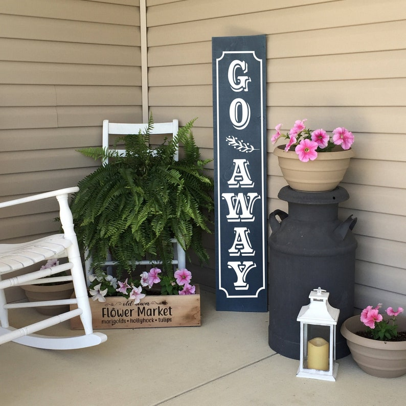 Go Away Porch Sign  Unwelcome Sign  Front Porch Decor  Dark Blue