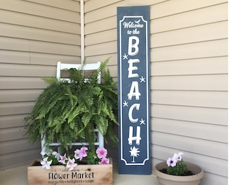 Porch Sign, Welcome Sign, Welcome The Beach Sign, Beach Sign, Front Porch Decor, Wood Sign, Vertical Sign, 22793