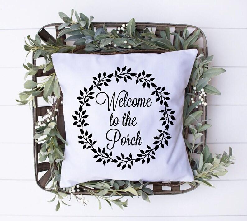 Welcome To The Porch Throw Pillow Cover Porch Decor image 0