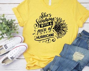 Sunflower T Shirt, She Is Sunshine With A Mix Of Hurricane Shirt, Flower Shirt, Summer Shirt, 22800