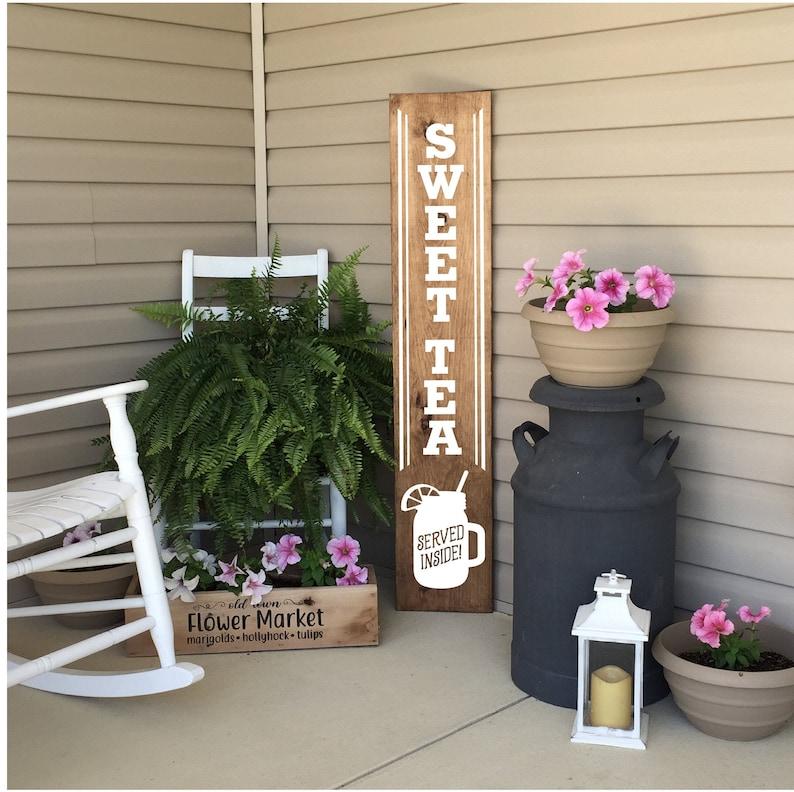 Porch Sign Front Porch Decor Sweet Tea Vertical Wood Porch image 0