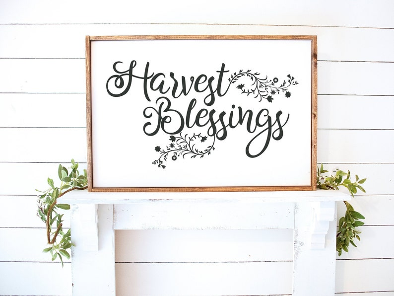 Harvest Blessings Framed Wood Sign Hand Painted Sign Rustic Charcoal