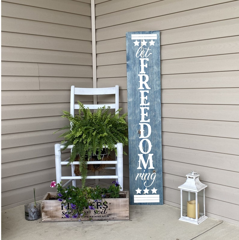 Porch Sign Patriotic Porch Sign Let Freedom Ring Sign Porch image 0