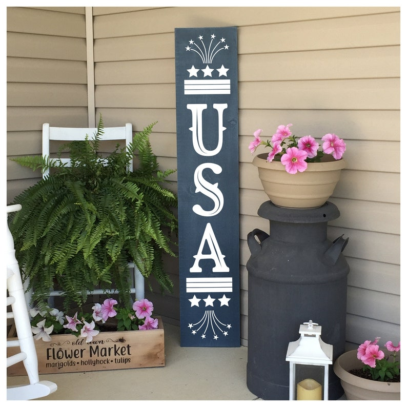 Porch Decor Patriotic Porch Sign USA Sign Welcome Sign 4th image 0
