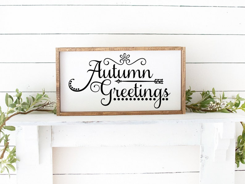 Autumn Greetings Framed Wood Sign  Fall Decor  Halloween image 0
