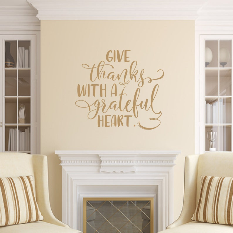 Thanksgiving Decal Give Thanks With A Grateful Heart Vinyl image 0