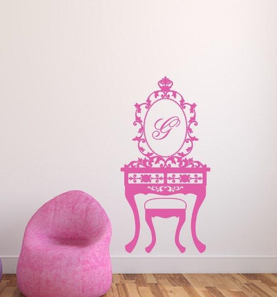 Swell Monogram Vanity With Mirror Vinyl Wall Decal Girls Room Decor Monogram Wall Decal 22116 Creativecarmelina Interior Chair Design Creativecarmelinacom