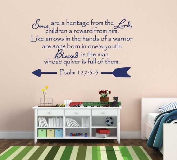 Psalms 127:3 Bible quote  wall vinyl decal