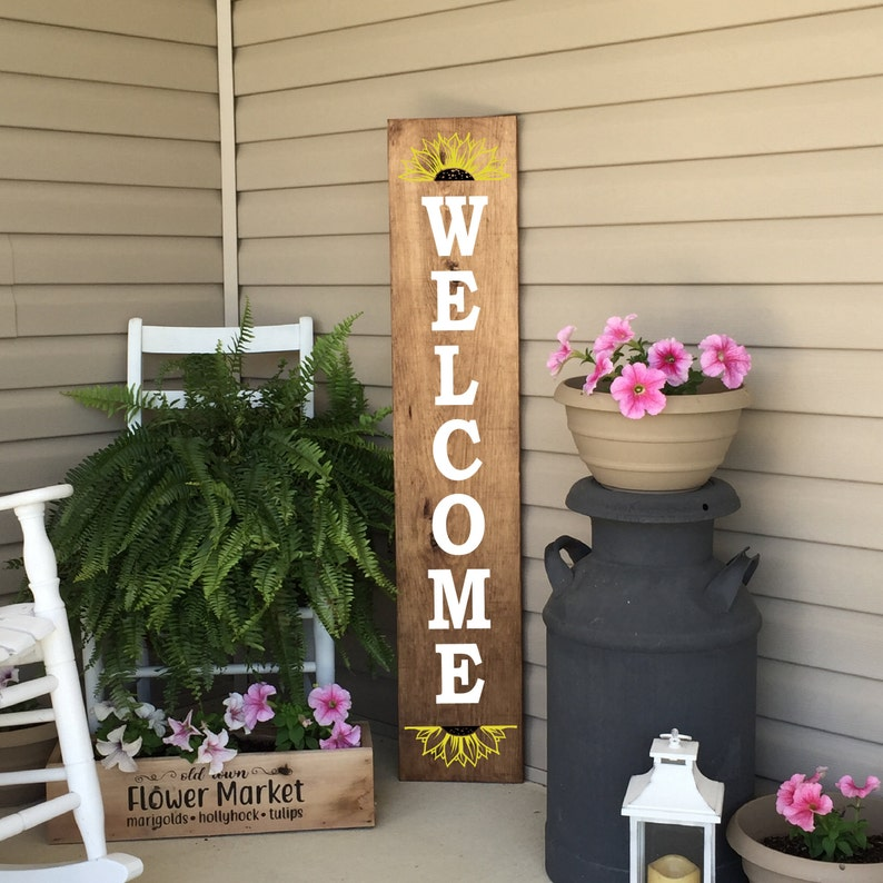 Porch Sign Welcome Sign Sunflower Sign Front Porch Decor image 0