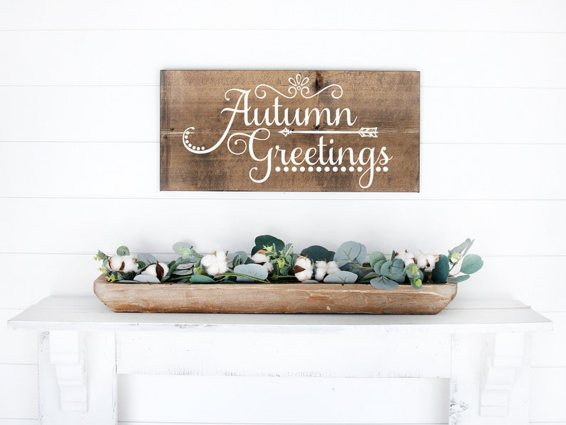 Autumn Greetings Wood Sign  Welcome Sign  Fall Decor  Dark Walnut Stain
