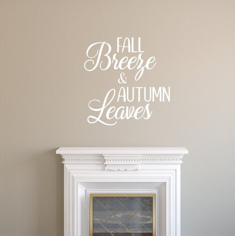 Fall Breeze And Autumn Leaves Vinyl Wall Decal Fall Decal image 0