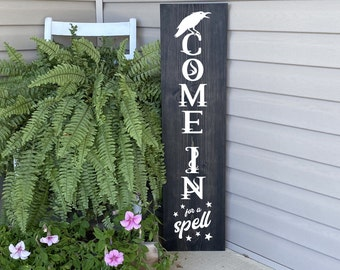 Fall Porch Sign, Fall Porch Decor, Halloween Porch Sign, Come In For A Spell Sign, 22819
