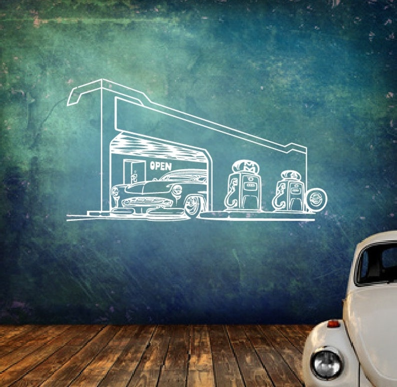 Gas Station Decal | Vinyl Wall Decal | Service Station | Garage Decor | Gas  Station | Retro Decal | Gift For Dad | 22371