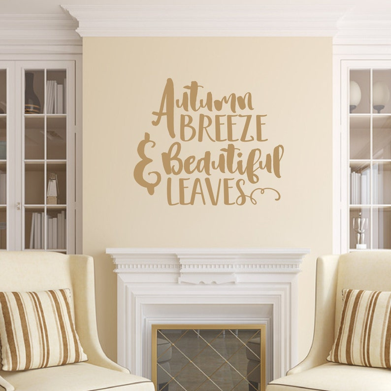 Fall Wall Decal Autumn Breeze And Beautiful Leaves Vinyl Wall Light Brown